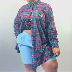 Vintage Ralph Lauren Long Plaid Flannel Sz 1X